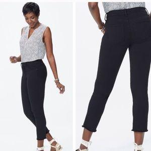 Nydj Sheri black frayed hem stretch ankle jeans